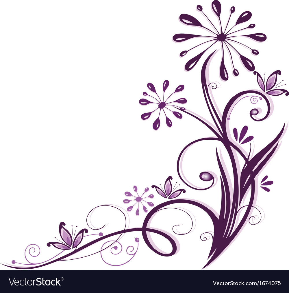 Purple flowers vector | Price: 1 Credit (USD $1)