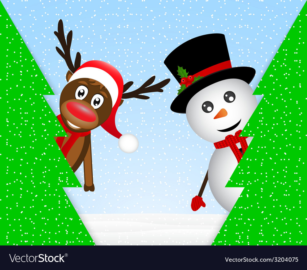 Snowman and reindeer peeking from behind trees vector | Price: 1 Credit (USD $1)