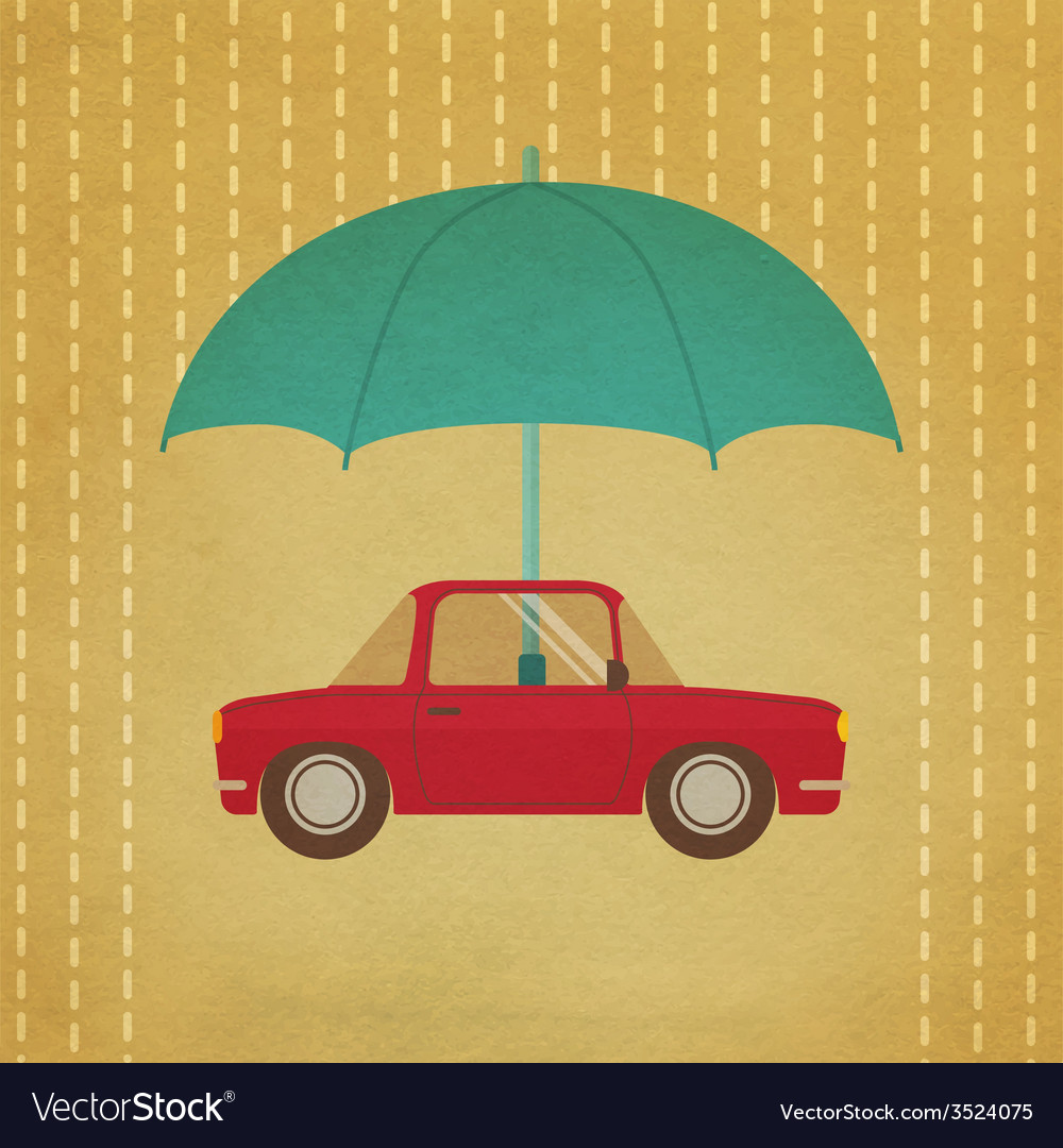 Vintage car under umbrella vector | Price: 1 Credit (USD $1)