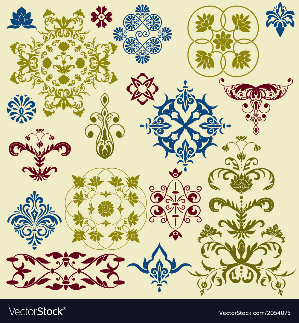Vintage floral bright design elements vector | Price: 1 Credit (USD $1)