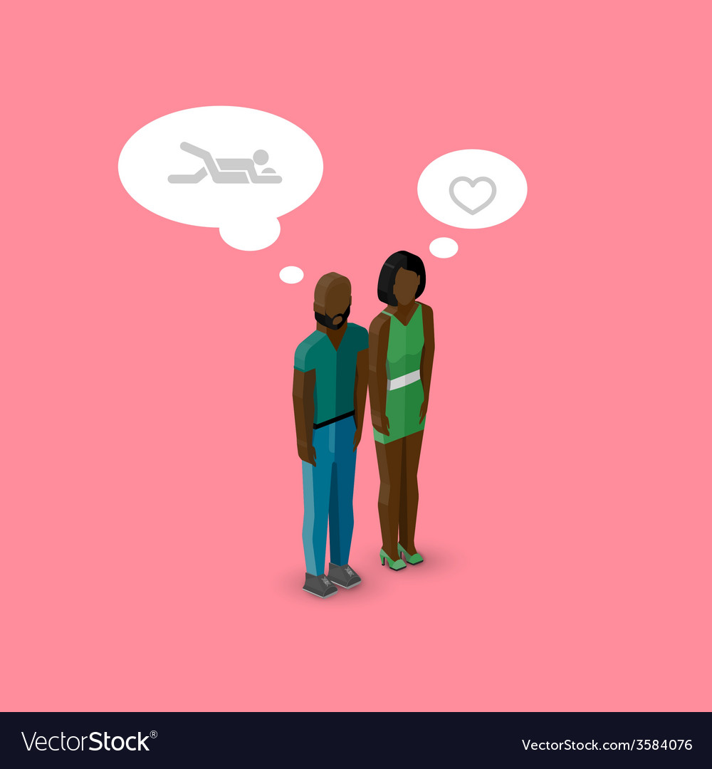 3d isometric cartoon of man and woman characters vector | Price: 1 Credit (USD $1)