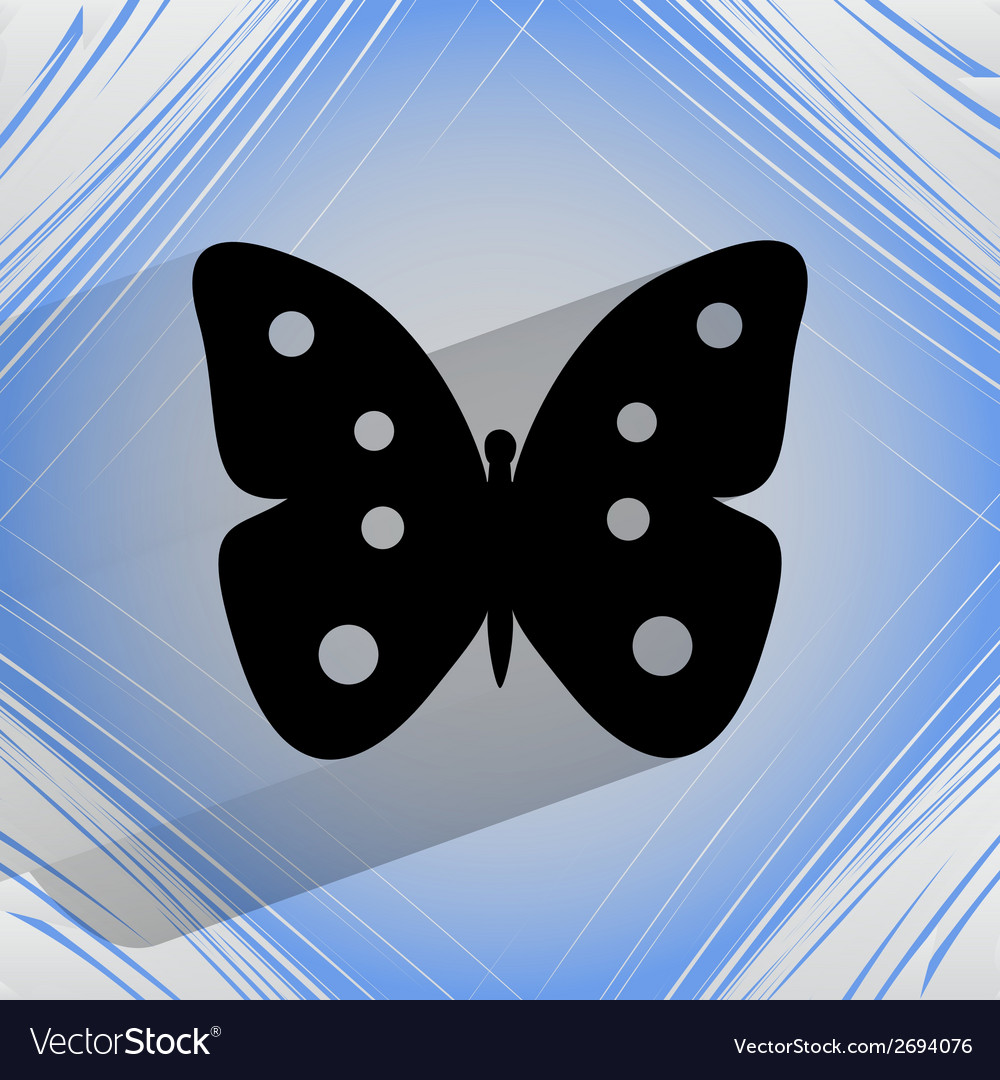 Butterfly flat modern web button on a flat vector | Price: 1 Credit (USD $1)