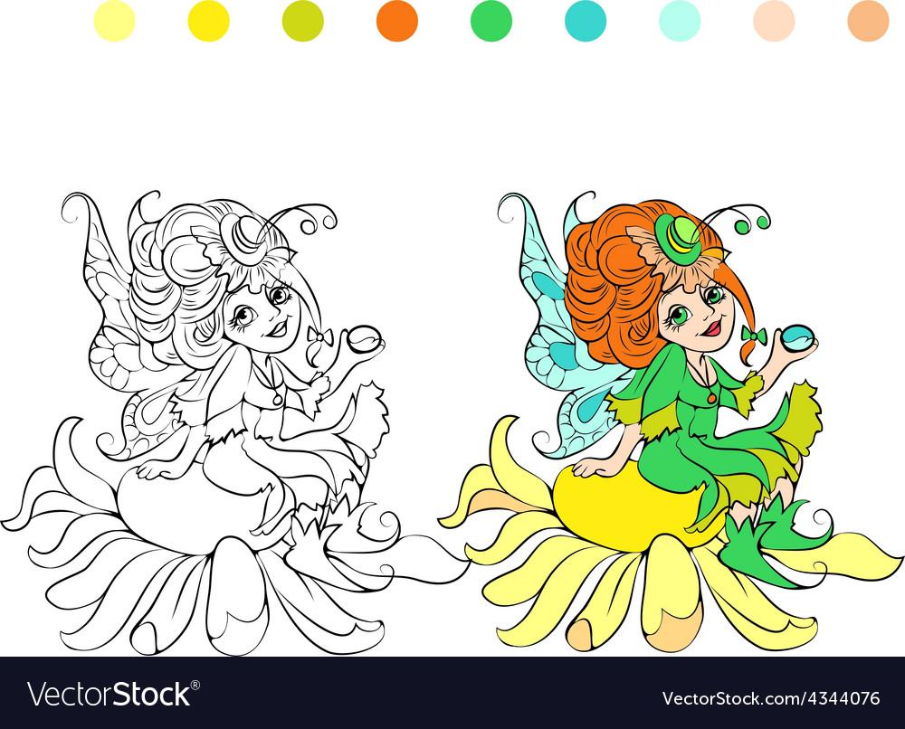 Cartoon fairy coloring page vector | Price: 1 Credit (USD $1)