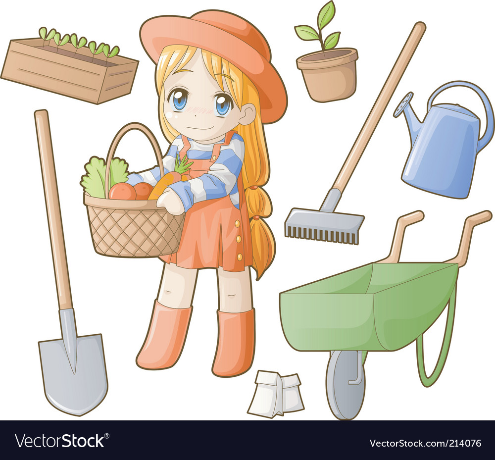 Chibi professions sets gardener vector