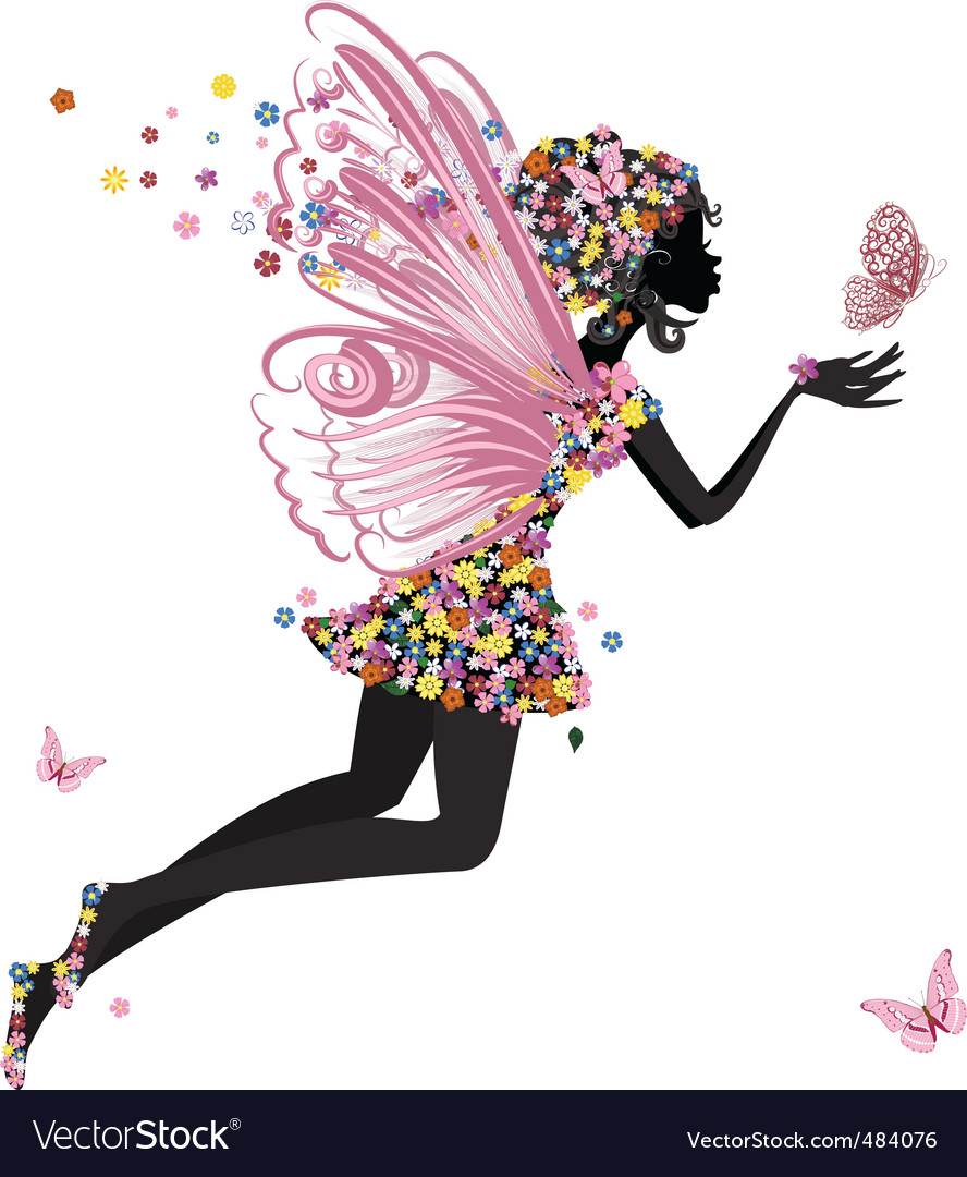 Flower fairy with butterfly vector | Price: 1 Credit (USD $1)