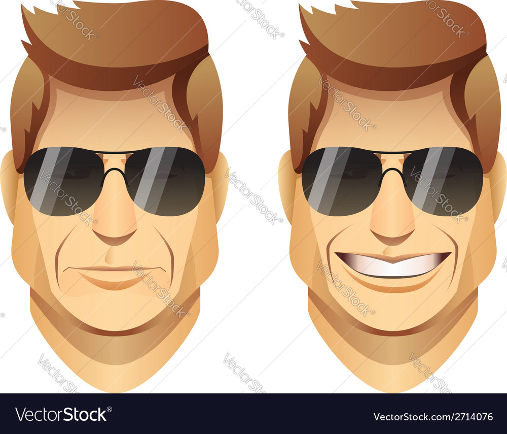 Male faces with sunglasses vector | Price: 1 Credit (USD $1)