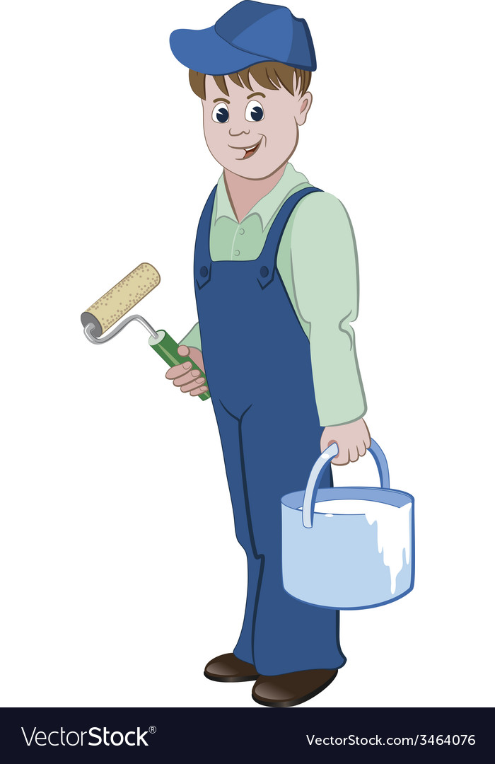 Painter standing with a roller and a bucket vector | Price: 1 Credit (USD $1)