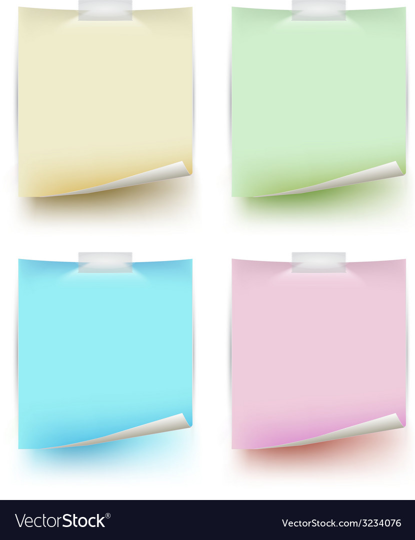 Paper note isolated set vector | Price: 1 Credit (USD $1)