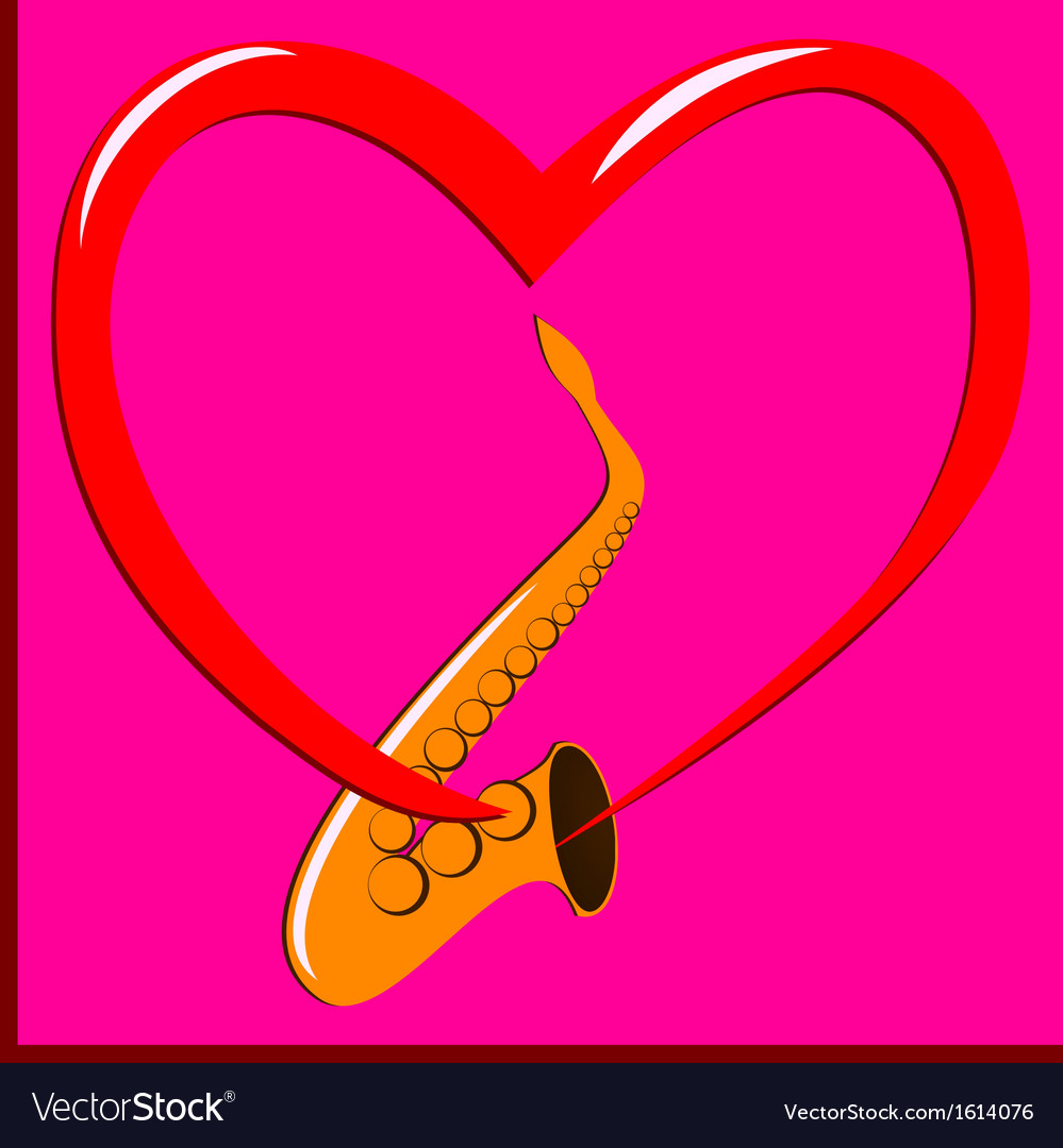 Red heart and saxophone vector | Price: 1 Credit (USD $1)
