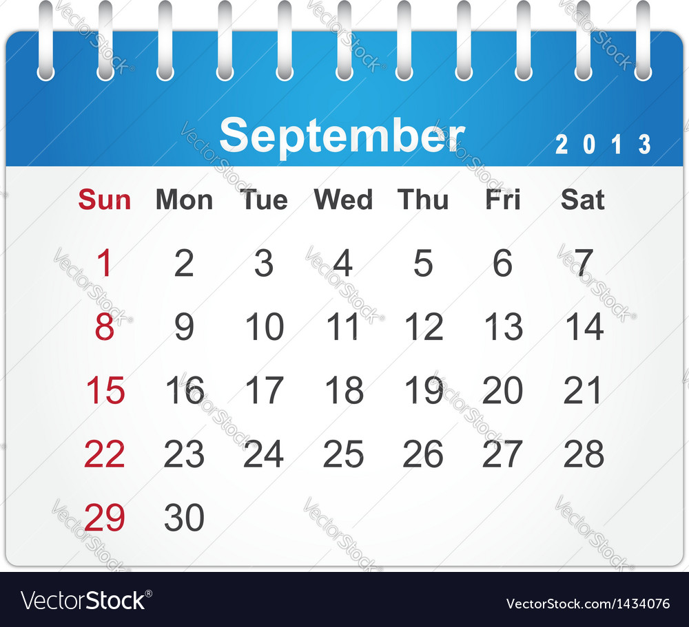 Stylish calendar page for september 2013 vector | Price: 1 Credit (USD $1)