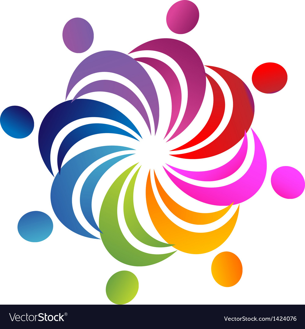 Teamwork colorful people logo vector | Price: 1 Credit (USD $1)
