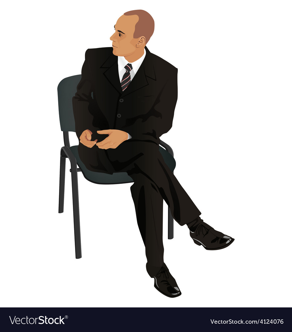 Young man on business suit sitting in office chair vector | Price: 1 Credit (USD $1)