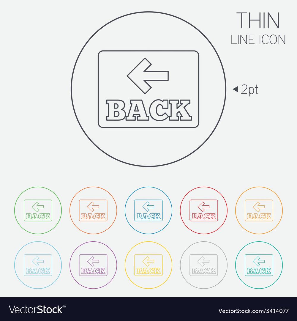 Arrow sign icon back button navigation symbol vector | Price: 1 Credit (USD $1)