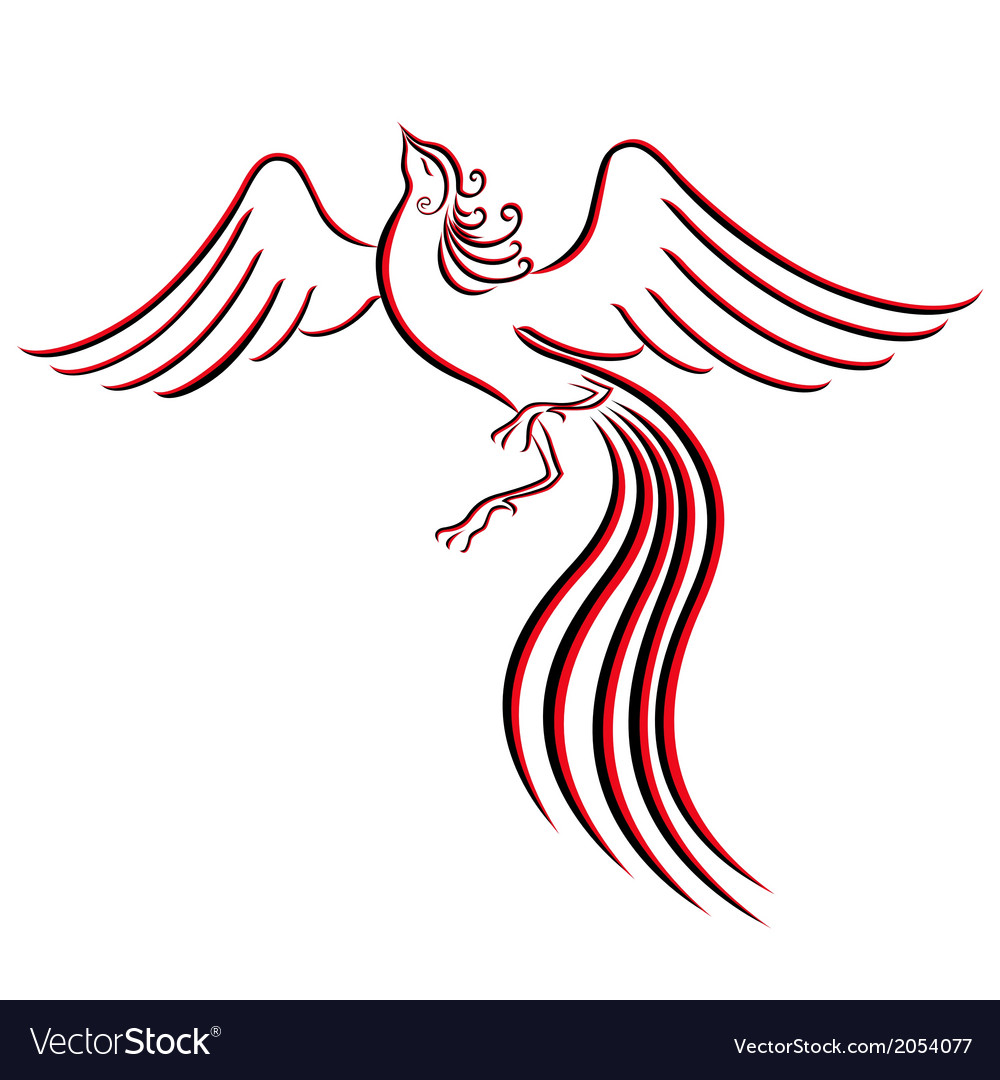 Black and red graceful firebird contour vector | Price: 1 Credit (USD $1)