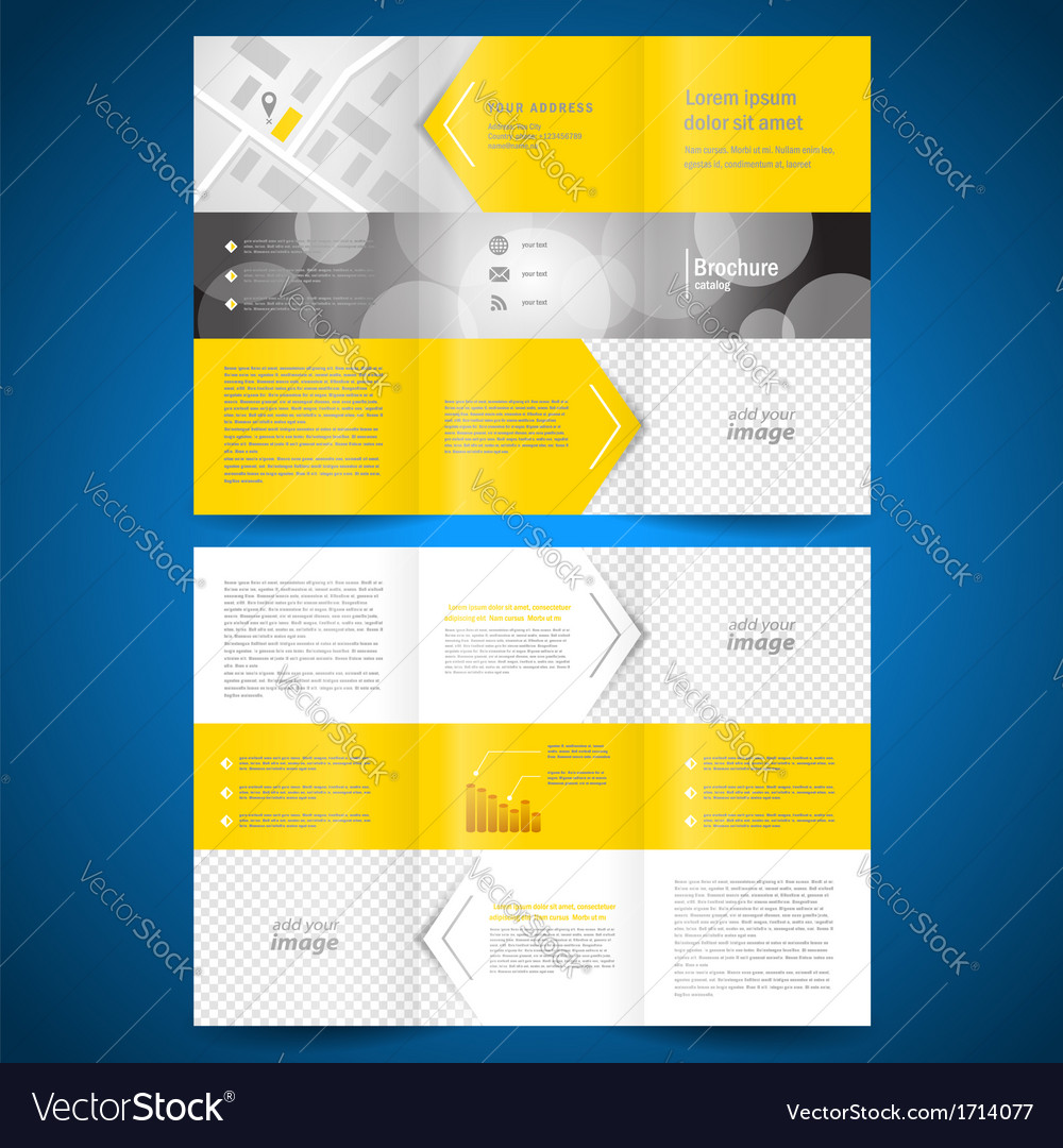 Brochure folder leaflet arrow line yellow vector | Price: 1 Credit (USD $1)