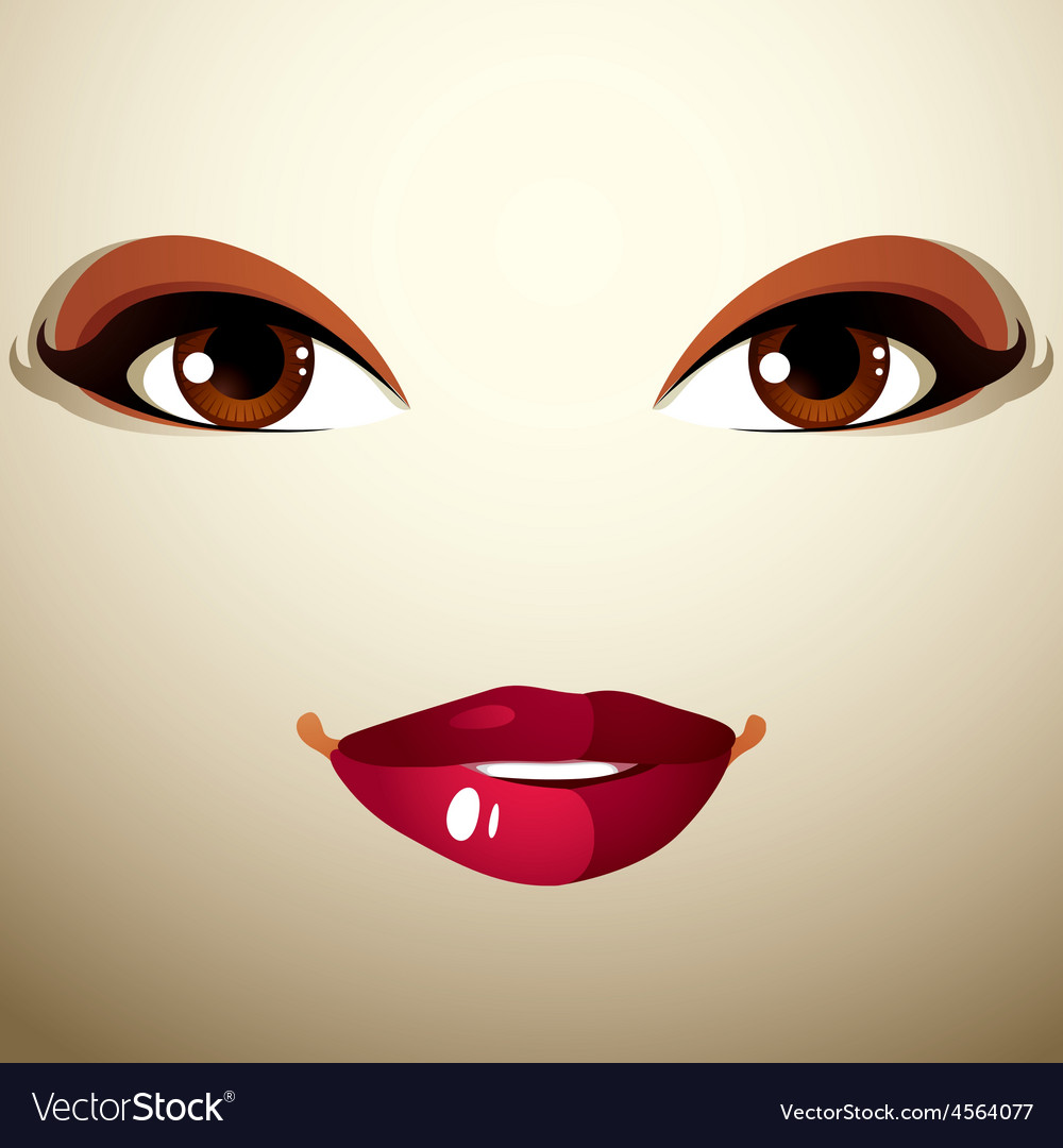 Coquette glad woman eyes and lips stylish makeup vector | Price: 1 Credit (USD $1)