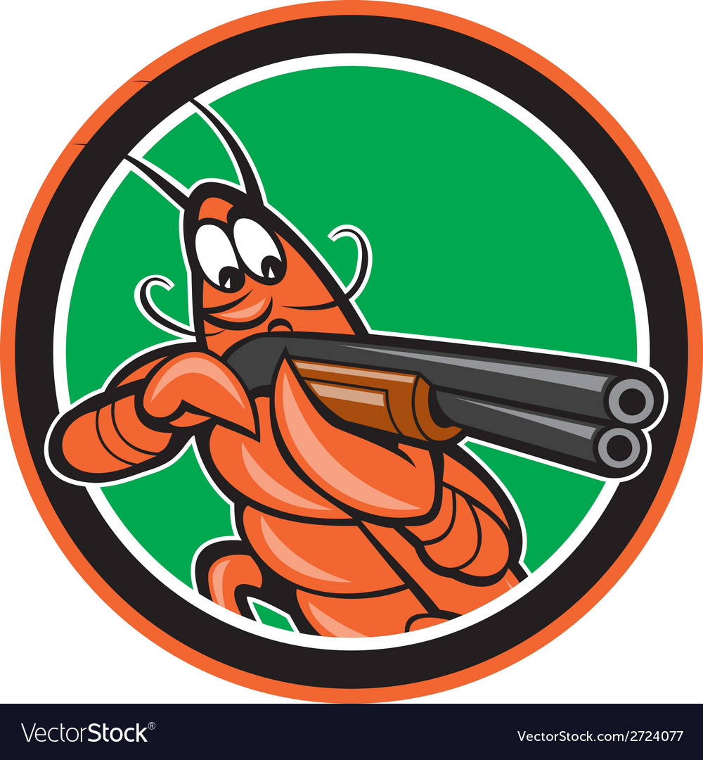 Crayfish lobster aiming shotgun circle cartoon vector | Price: 1 Credit (USD $1)