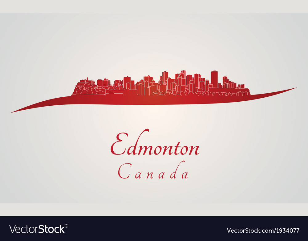 Edmonton skyline in red vector | Price: 1 Credit (USD $1)
