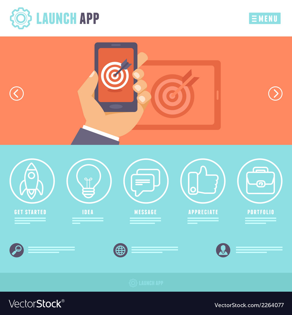 Flat webpage template vector   Price: 1 Credit (USD $1)