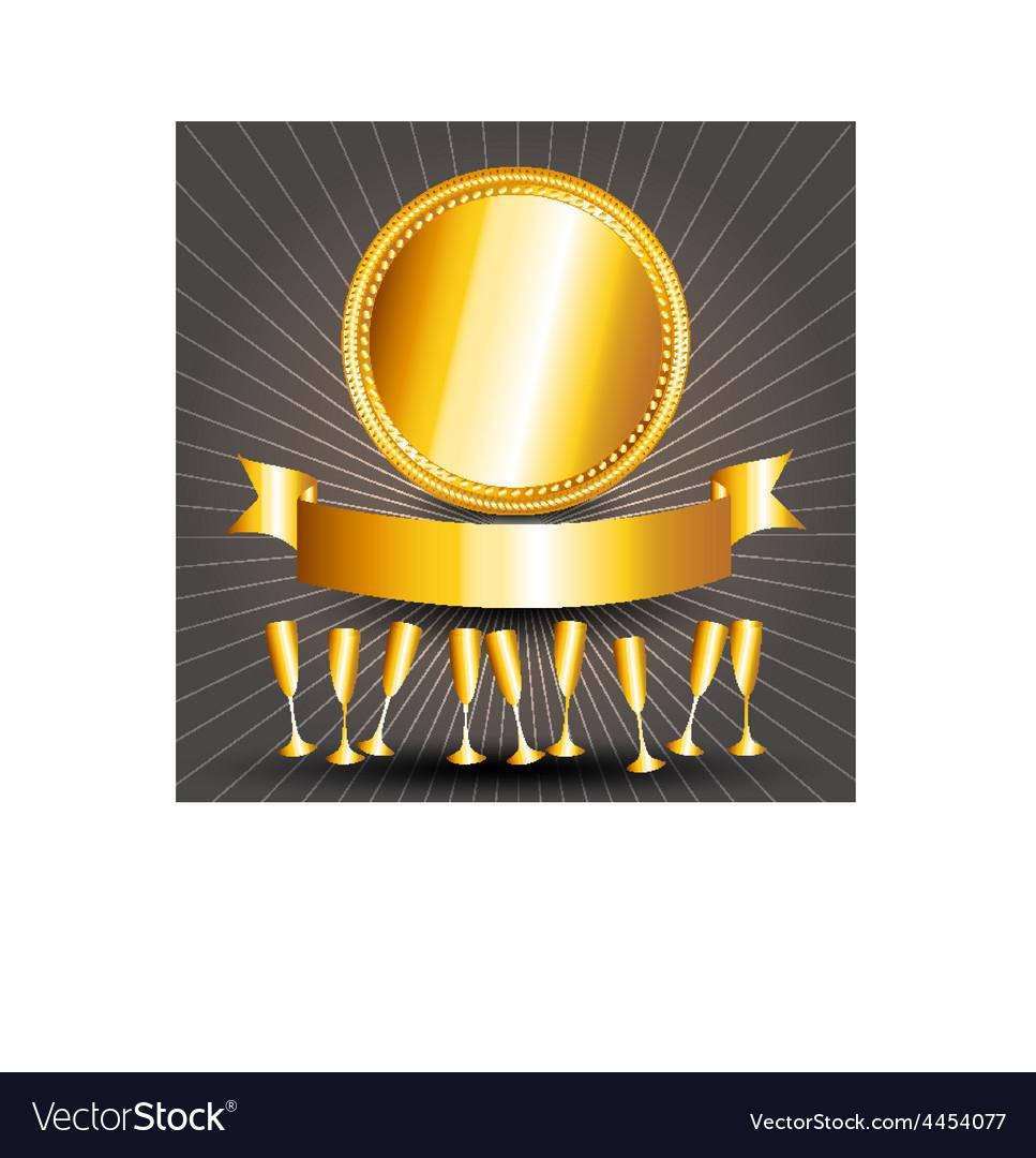 Gold circle sign cups and ribbon banner vector