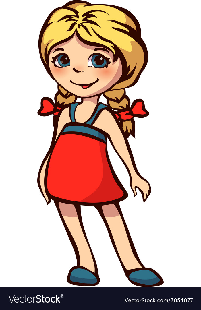 Little girl in red dress vector | Price: 1 Credit (USD $1)