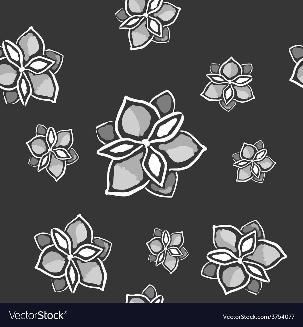 Magnolia seamless monochrome pattern on dark vector | Price: 1 Credit (USD $1)
