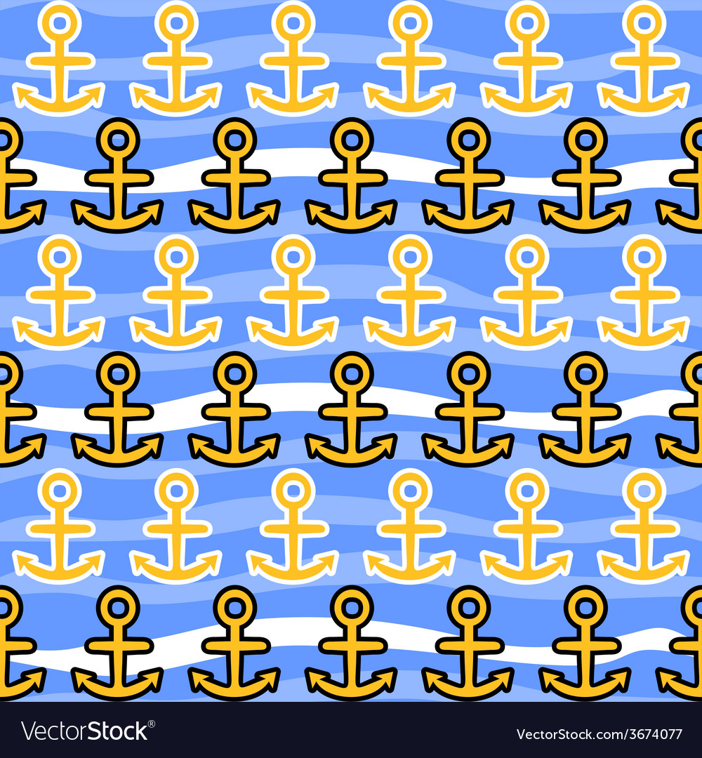 Seamless pattern with anchors sea background vector | Price: 1 Credit (USD $1)