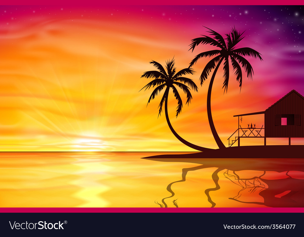 Sunset sunrise with beach nut vector | Price: 1 Credit (USD $1)