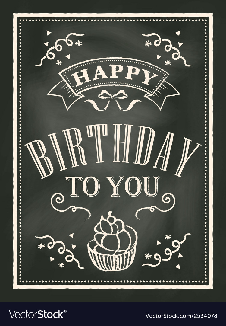 Chalkboard birthday card design background vector | Price: 1 Credit (USD $1)