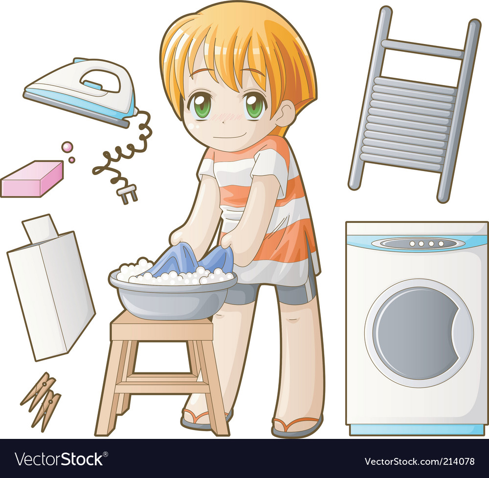 Chibi professions sets laundress vector | Price: 3 Credit (USD $3)