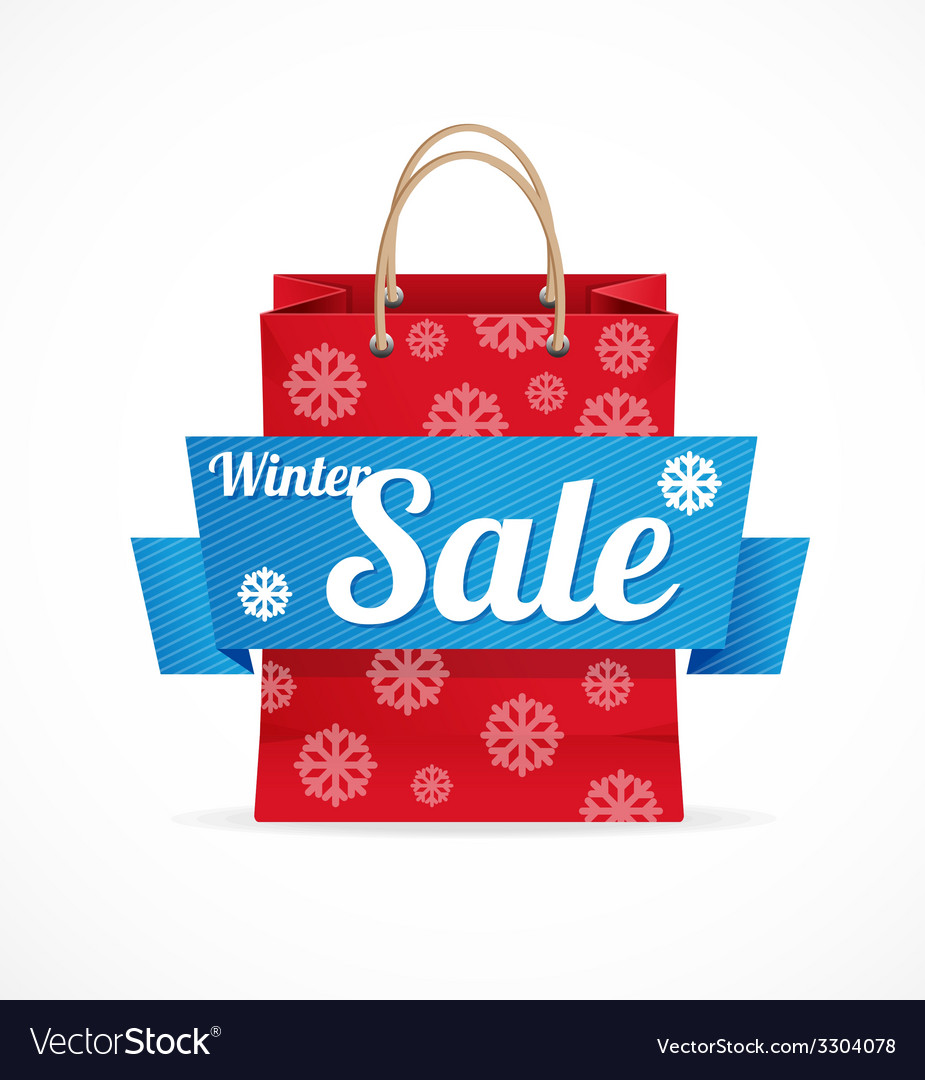 Christmas sale red paper bag on white vector | Price: 1 Credit (USD $1)