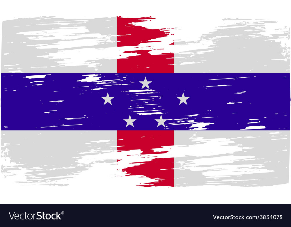 Flag of netherlands antilles with old texture vector | Price: 1 Credit (USD $1)