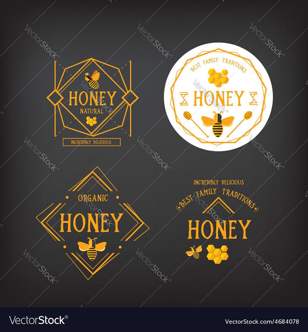 Honey label design bee badge vector | Price: 1 Credit (USD $1)