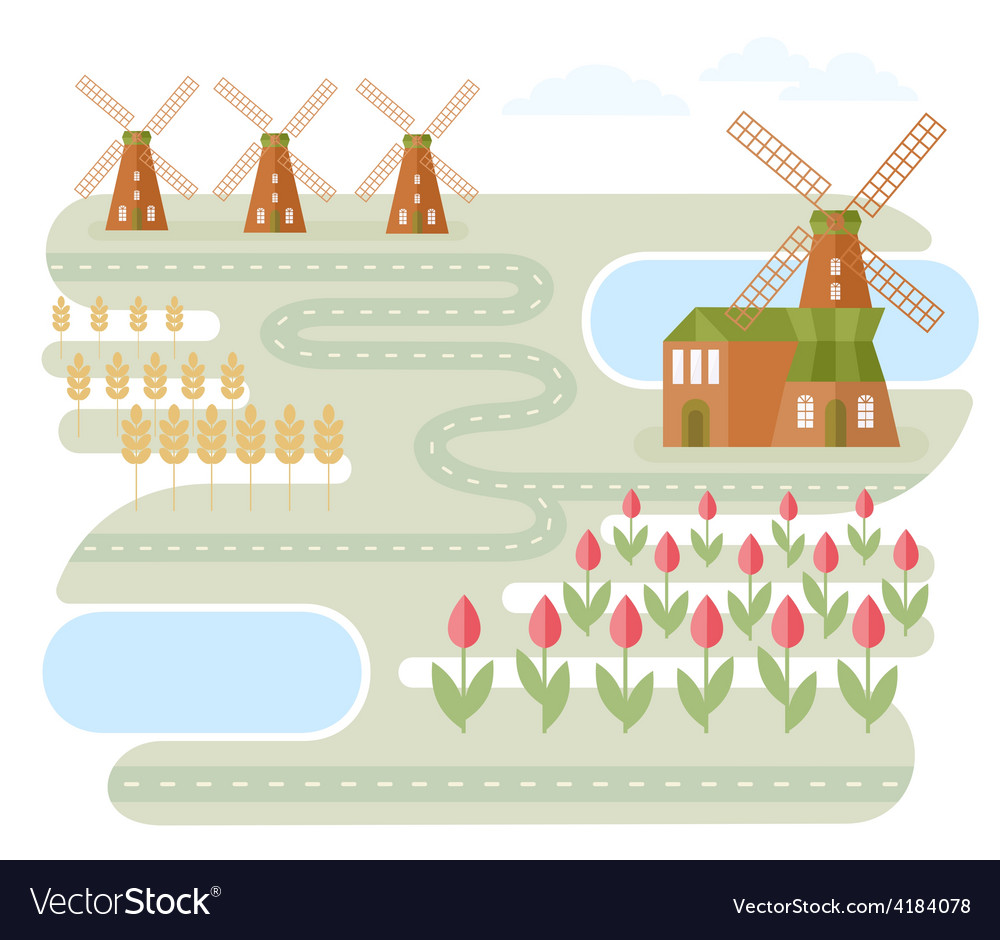 Landscape in holland vector | Price: 1 Credit (USD $1)