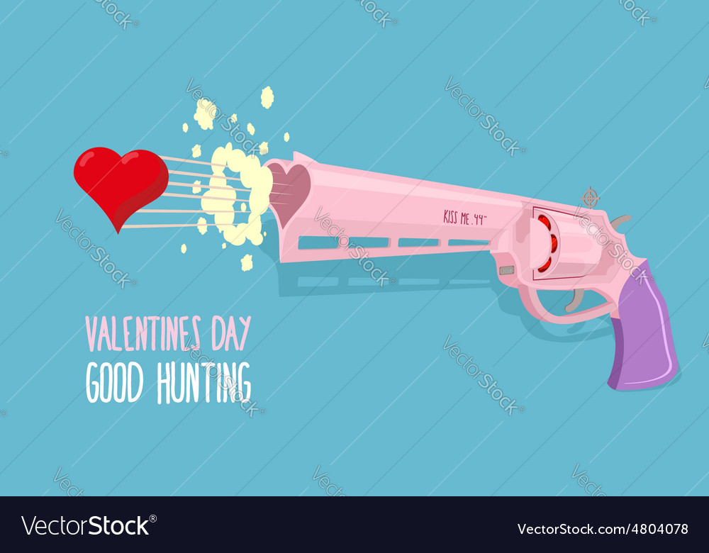Love gun valentines day gun shoots at heart good vector | Price: 1 Credit (USD $1)