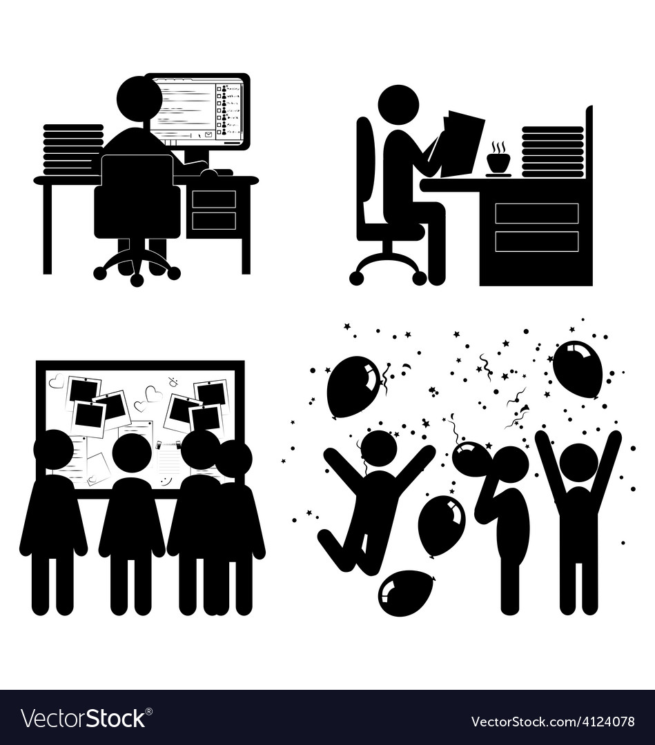 Set of flat office internal communications icons vector | Price: 1 Credit (USD $1)