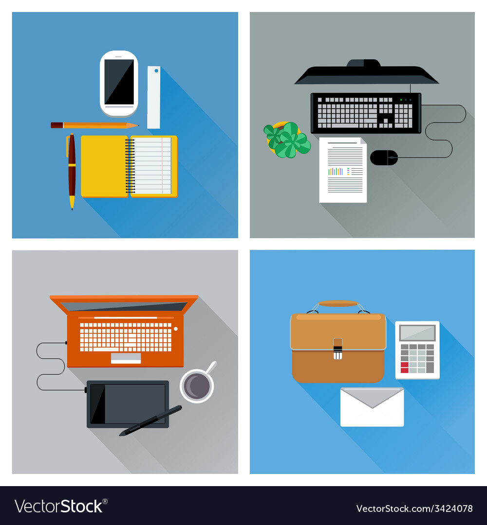 Workplace with digital devices top view icon set vector | Price: 1 Credit (USD $1)