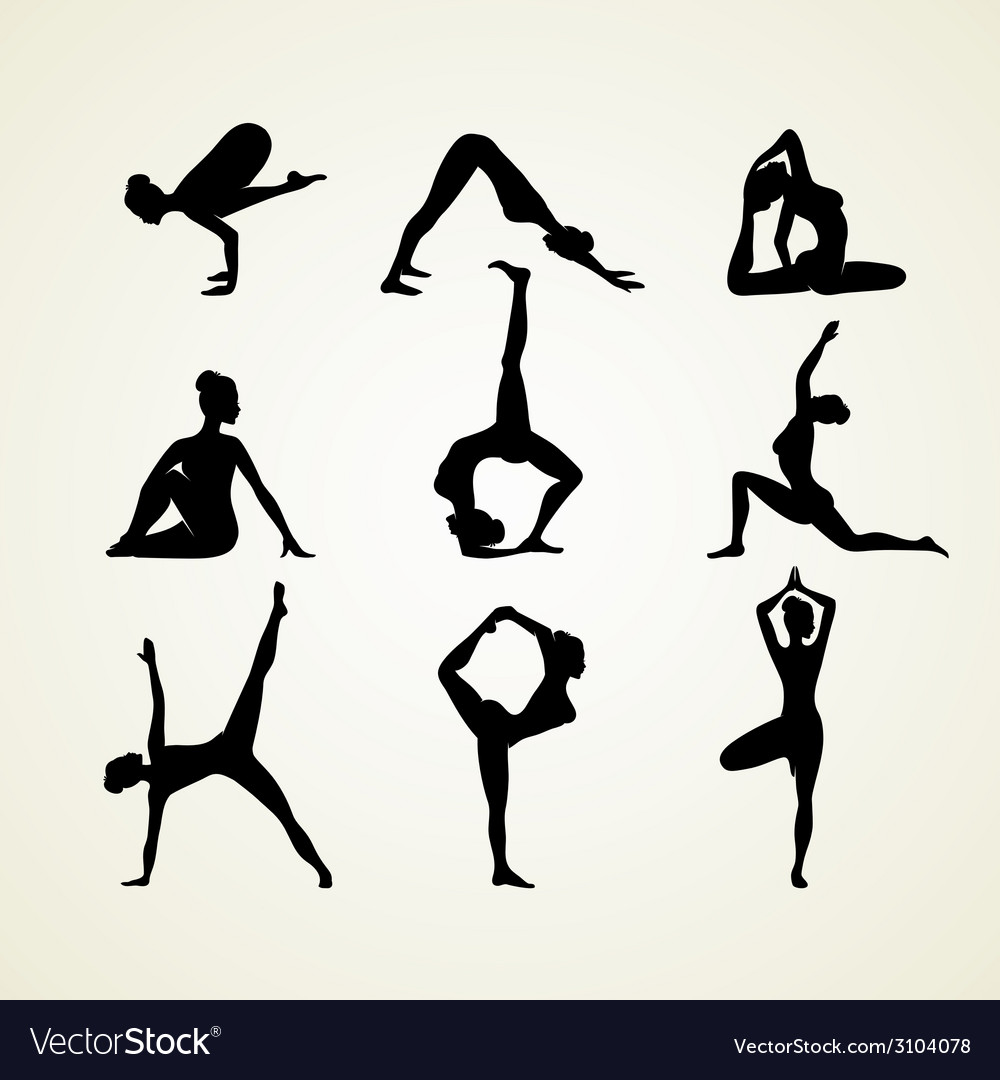 Yoga poses silhouette vector | Price: 1 Credit (USD $1)