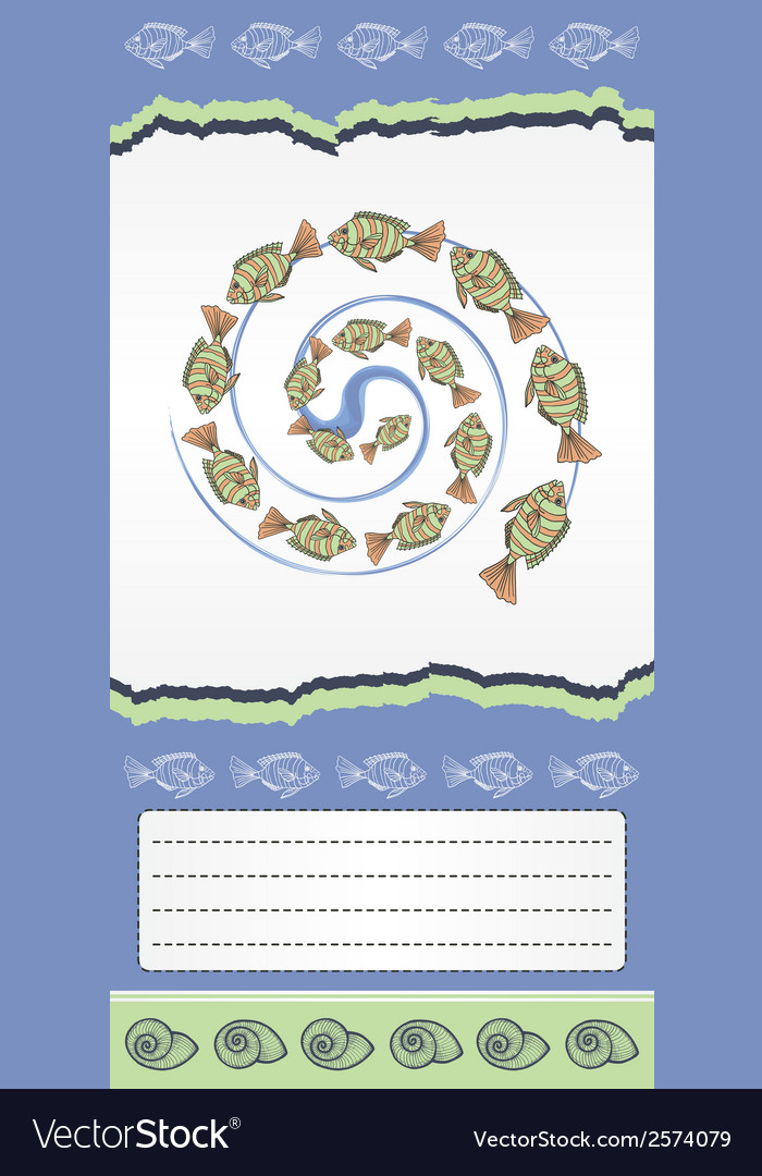 Abstract template for card with fishes vector | Price: 1 Credit (USD $1)