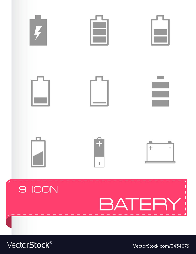 Black battery icon set vector | Price: 1 Credit (USD $1)