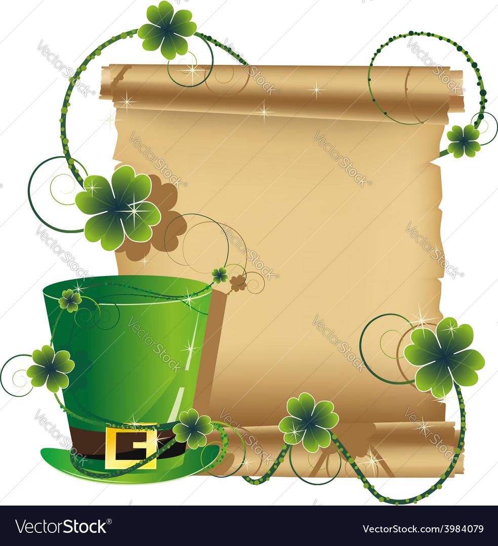 Green leprechaun hat and ancient manuscript vector | Price: 1 Credit (USD $1)