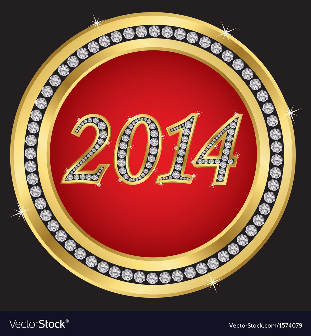 Happy new 2014 year golden label with diamonds vector | Price: 1 Credit (USD $1)