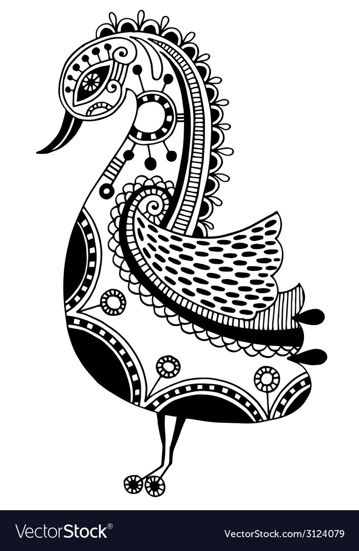 Ink drawing of tribal ornamental bird ethnic vector | Price: 1 Credit (USD $1)