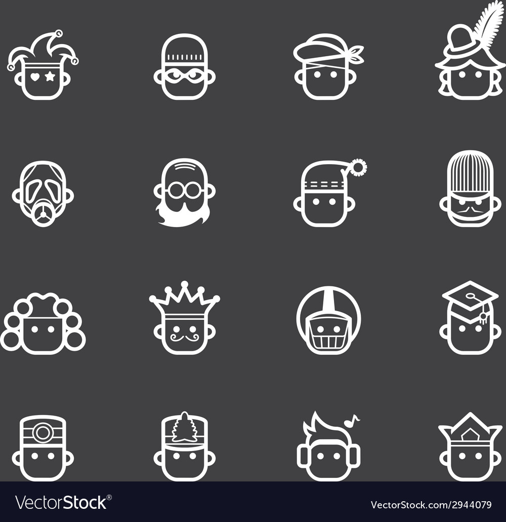 Occupation white icon set 2 on black background vector | Price: 1 Credit (USD $1)