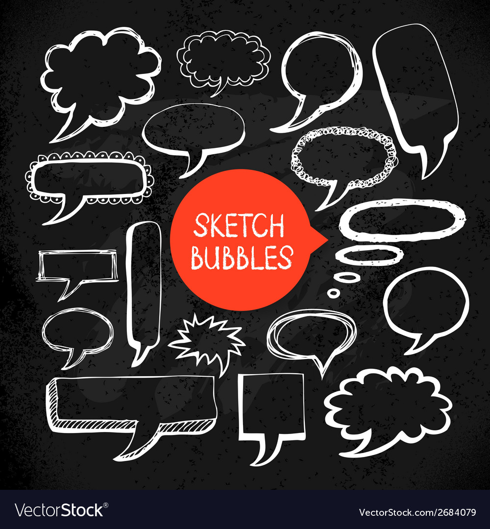 Set of hand drawn sketch doodle bubble frames vector | Price: 1 Credit (USD $1)