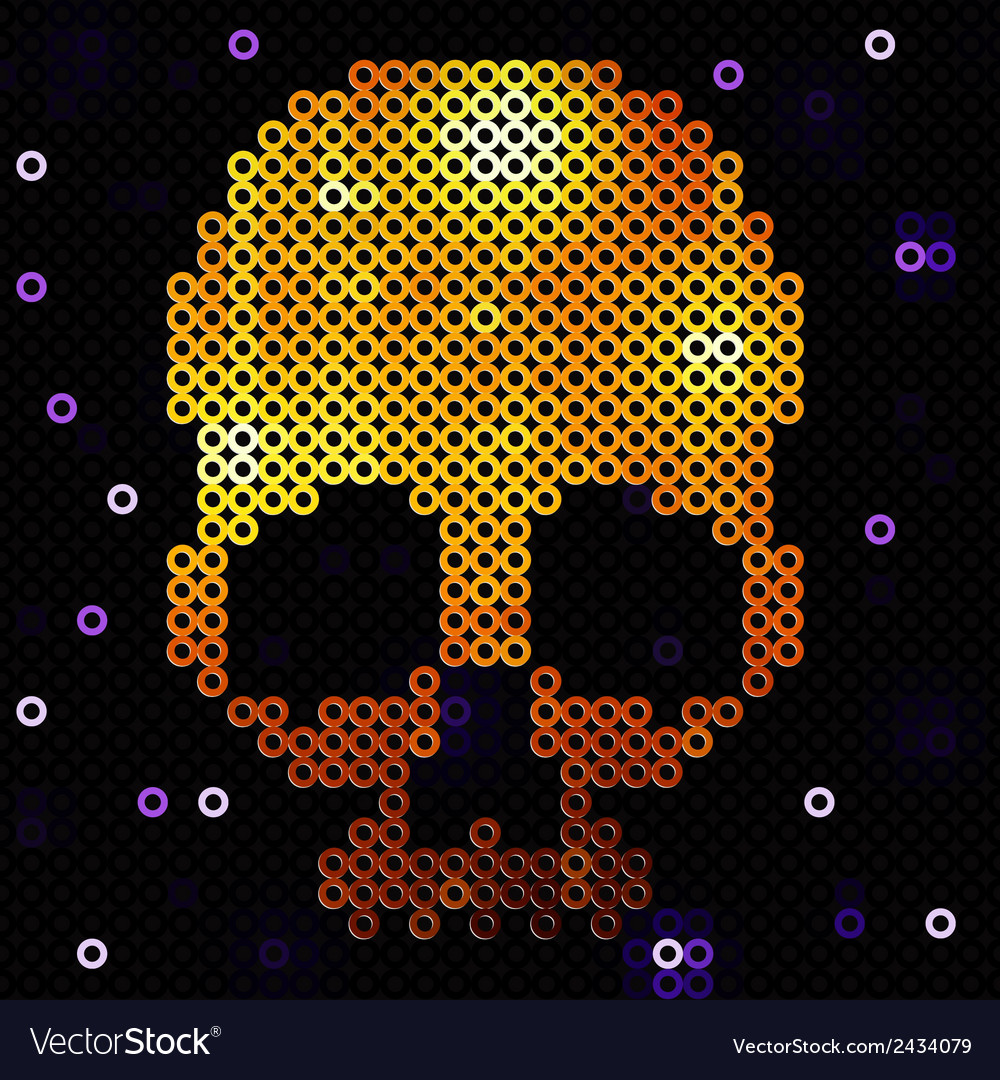 Skull gold beads sequins vector | Price: 1 Credit (USD $1)
