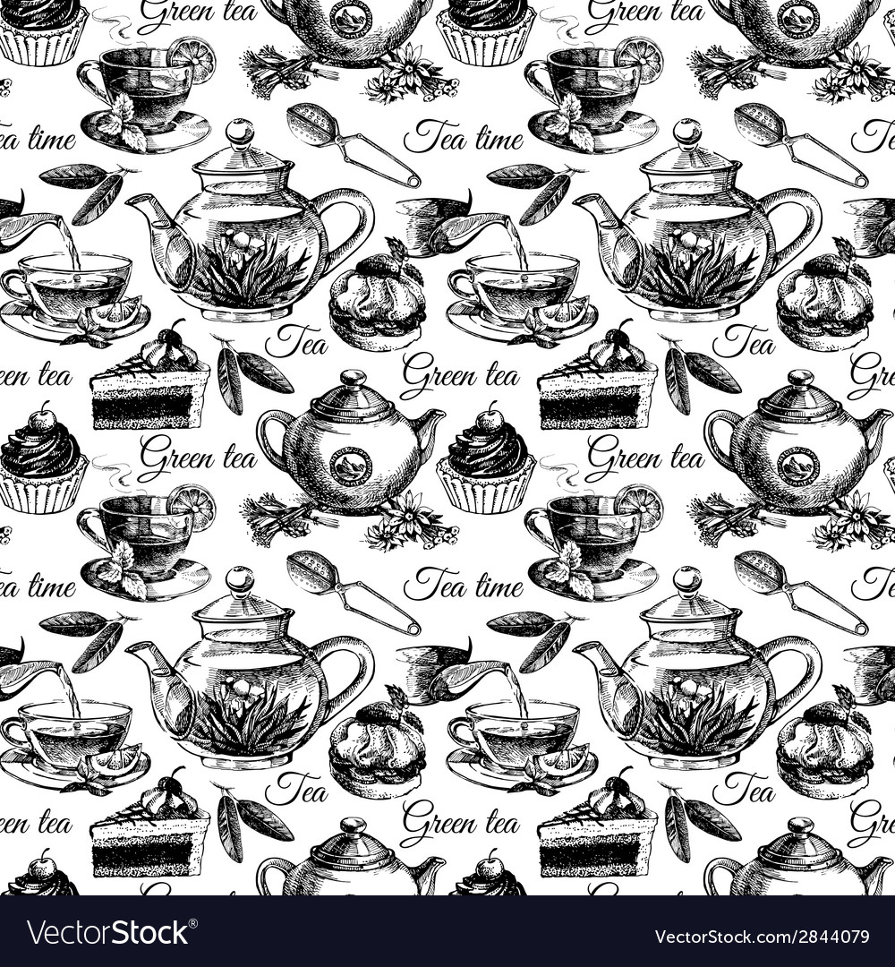 Tea and cake seamless pattern vector | Price: 1 Credit (USD $1)