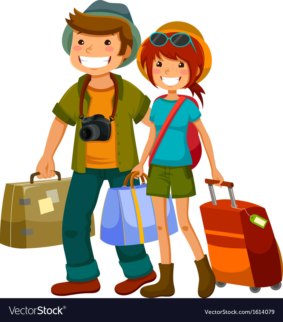 Travelling couple vector | Price: 1 Credit (USD $1)