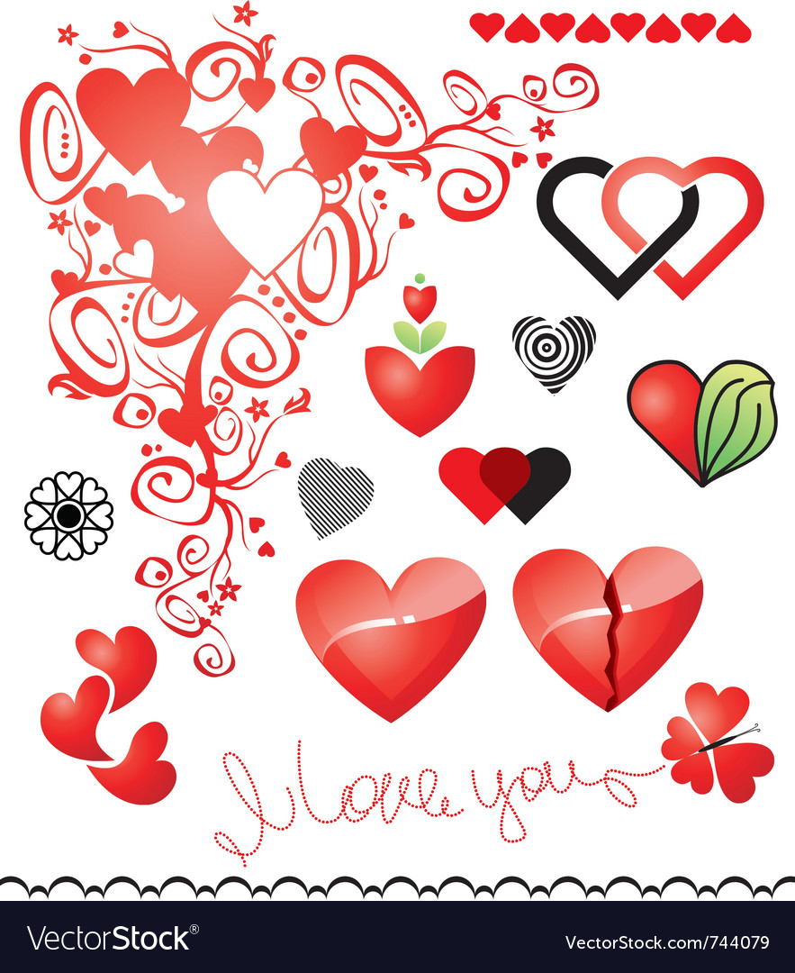 Various variants of hearts for your design vector | Price: 1 Credit (USD $1)