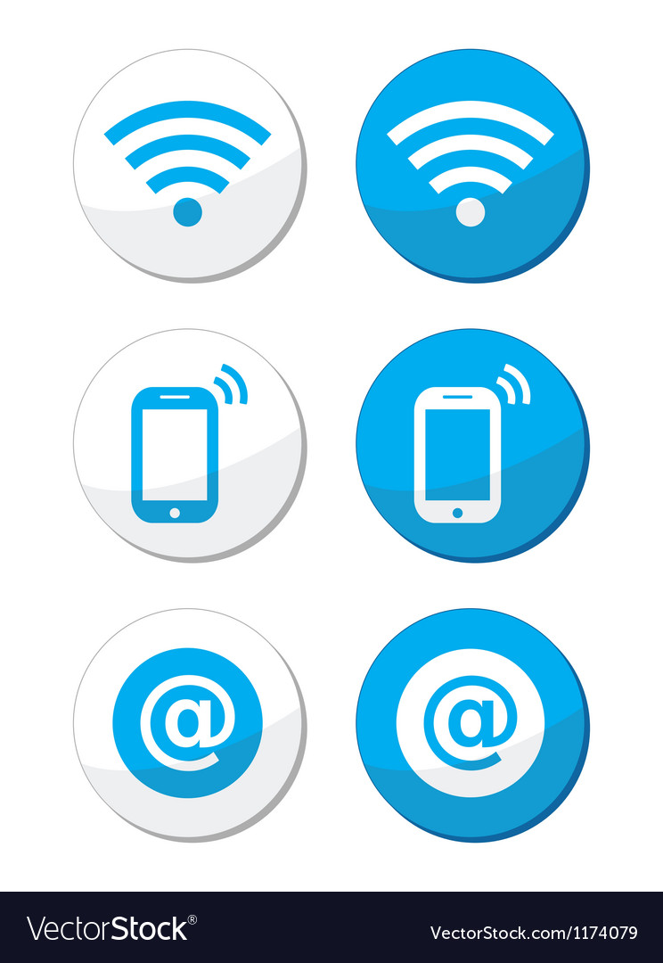 Wifi network internet zone blue labels set vector | Price: 1 Credit (USD $1)